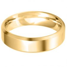 Mens 9ct Gold 5.0mm Bevelled Edge Court Wedding Ring BBE5.0V/F0_ 9Y