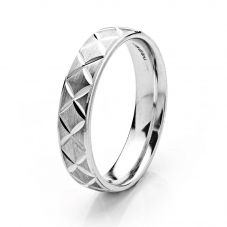 9ct White Gold 5.0mm Court Etched and Brushed Wedding Ring BC5.0/F49 9W
