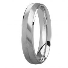 9ct White Gold 5.0mm Court Knife-edge Tramline Wedding Ring BC5.0/F50 9W