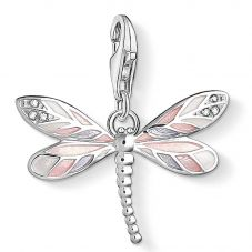 Thomas Sabo Silver Cubic Zirconia Pink Enamel Dragonfly Charm 1516-041-9