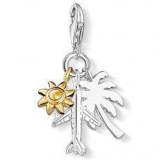 Thomas Sabo Silver Two Colour Palmtree Sun Plane Charm  1430-413-21