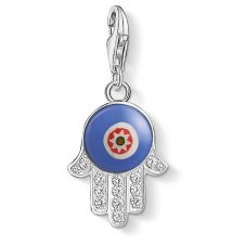 THOMAS SABO Silver Blue Glass Hand Of Fatima Evil Eye Charm 1442-052-1