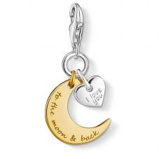 Thomas Sabo Silver Gold Plated Moon Heart Charm 1443-413-39