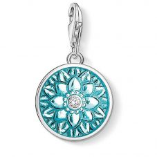 Thomas Sabo Silver Blue Flower Ornament Charm 1447-041-17