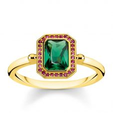 THOMAS SABO Gold Plated Red and Green Multi-Stone Ring TR2264-973-7