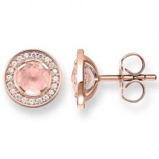 Thomas Sabo Rose Gold Plated Luna Rose Quartz Earrings H1858-417-9