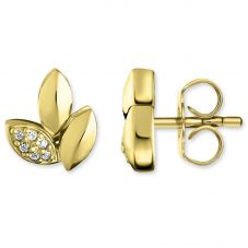 Thomas Sabo Ladies Gold Plated Diamond Leaves Earrings D_H0006-924-39
