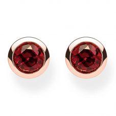Thomas Sabo Rose Gold Tone Red Stud Earrings H1962-540-10
