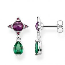 THOMAS SABO Sterling Silver Magic Stones Purple and Green Droplet Earrings H2073-348-7