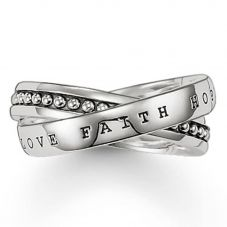 Thomas Sabo Sterling Silver Faith Hope Love Multi Ring  TR1930-001-12