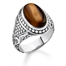 THOMAS SABO Sterling Silver Oxidized Tigers Eye Signet Ring TR2241-826-2