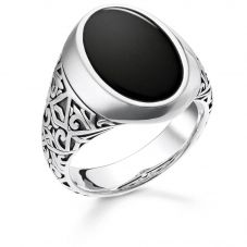 Thomas Sabo Sterling Silver Oxidized Black Onyx Signet Ring TR2242-698-11
