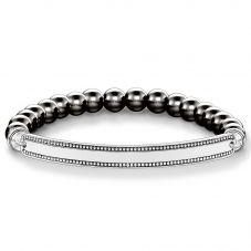 Thomas Sabo Silver Bead Edge Synthetic Hematite Bracelet LBA0016-808-5