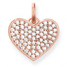 THOMAS SABO Rose Plated Pavé Heart Pendant LBPE0022-416-14