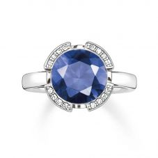 THOMAS SABO Silver Signature Blue Cubic Zirconia Ring TR2038-050-32