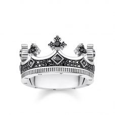 Thomas Sabo Black Cubic Zirconia Crown Ring TR2208-643-11