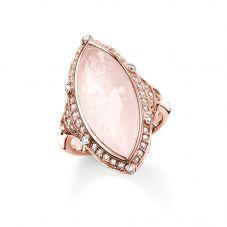 THOMAS SABO Rose Gold Plated Rose Quartz Marquise Ring TR2041-537-9
