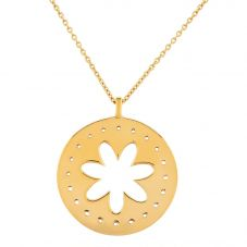 Daisy London Riviera Gold Plated Flower Disc Pendant RIV-N8042GP