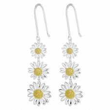 Daisy London Silver and Gold Plated Triple Daisy Drop Earrings E2010