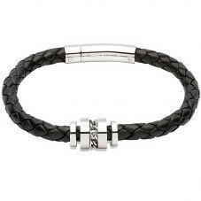 Unique Stainless Steel Black Leather Bracelet B250BL/21CM