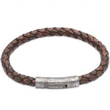Unique Stainless Steel Brown Aged Leather 21cm Bracelet B322ADB/21CM