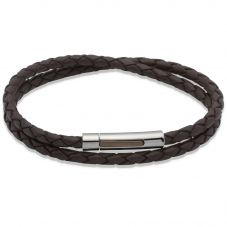 Unique Stainless Steel Double Braid Brown Leather Bracelet B171DB/21CM