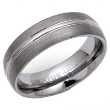 Unique Mens Tungsten Carbide 7mm Polished and Brushed Ring TUR-9