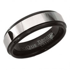 Unique Mens Tungsten Carbide 7mm Black-IP Ring TUR-37