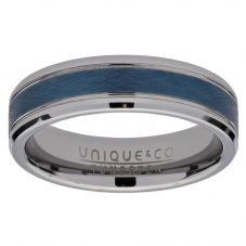 Unique 6mm Blue Inlay Tungsten Carbide Ring TUR-89