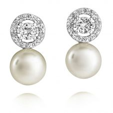 Jersey Pearl Freshwater Pearl Cubic Zirconia Halo Earrings AME5