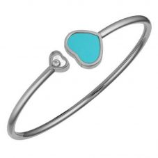 Chopard Happy Hearts 18ct White Gold Turquoise Bangle 857482-1404 (L)