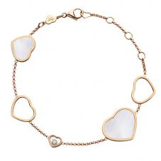 Chopard Happy Hearts 18ct Rose Gold Mother Of Pearl Bracelet 857482-5031