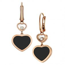 Chopard Happy Hearts 18ct Rose Gold Onyx Diamond Earrings 837482-5210