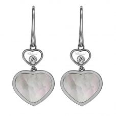 Chopard Happy Hearts 18ct White Gold Mother Of Pearl Diamond Earrings 837482-1310