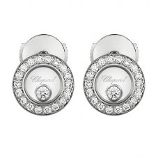 Chopard Happy Diamonds 18ct White Gold Circle Earrings 83A017-1201