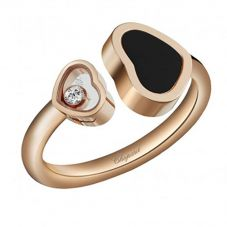 Chopard Happy Hearts 18ct Rose Gold Onyx Diamond Ring 829482-5210 (52)