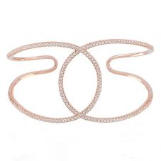 Sif Jakobs Ladies Rose Gold Plated 'Fucino Grande' Crossover Cubic Zirconia Open Cuff Bangle SJ-BG0062-CZ(RG)