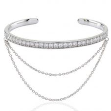 Sif Jakobs Ladies Rhodium Plated 'Simeri Catena' White Cubic Zirconia Set Open Bangle SJ-BG006-CZ