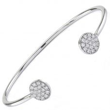 Sif Jakobs Ladies Rhodium Plated 'Sacile' Open End White Cubic Zirconia Bangle SJ-BG2071-CZ/MED