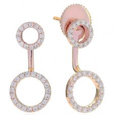 Sif Jakobs Ladies Rose Gold-Plated 'Biella Due' Double Open Circle Cubic Zirconia Ear Jacket Earrings SJ-E0215-CZ(RG)