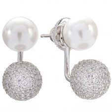 Sif Jakobs Ladies Rhodium Plated 'Bobbio Due' Cubic Zirconia Pavé Ear Jacket And Pearl Stud Earrings SJ-E021414-CZP