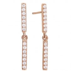 Sif Jakobs Ladies Rose Gold-Plated 'Siena Lungo' White Cubic Zirconia Bar Drop Earrings SJ-E1018-CZ(RG)