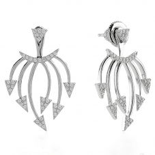 Sif Jakobs Ladies Rhodium Plated 'Panzano' White Cubic Zirconia Ear Jackets SJ-E0694-CZ