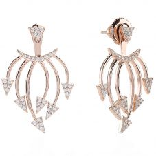 Sif Jakobs Ladies Rose Gold-Plated 'Panzano' White Cubic Zirconia Ear Jackets SJ-E0694-CZ(RG)