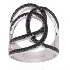 Sif Jakobs Ladies Rhodium Plated 'Fucino Grande' Crossover Black Cubic Zirconia Ring SJ-R11199-BK
