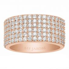 Sif Jakobs Ladies Rose Gold-Plated 'Corte Cinque' White Cubic Zirconia Ring SJ-R10766-CZ(RG)