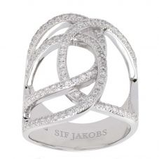 Sif Jakobs Ladies Rhodium Plated 'Fucino Grande' Crossover White Cubic Zirconia Ring SJ-R11199-CZ