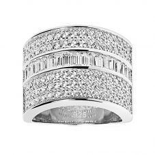 Sif Jakobs Rhodium Plated 'Corte Grande' White Cubic Zirconia Ring SJ-R003-CZ
