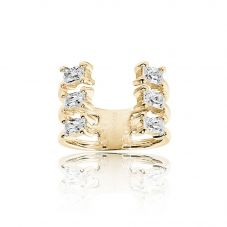 Sif Jakobs Gold Plated Antella Baguette Grande Ring SJ-R014-CZ(YG)/58