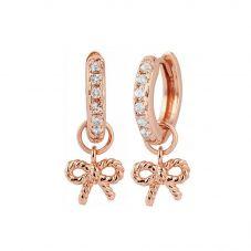 Olivia Burton Vintage Bow Rose Gold Plated White Topaz Huggie Hoop Earrings OBJ16VBE17